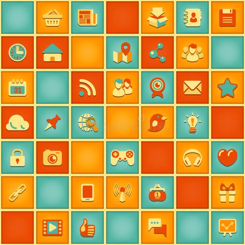 Teste padrão quadrado de trabalhos em rede sociais em cores retros ilustração stock