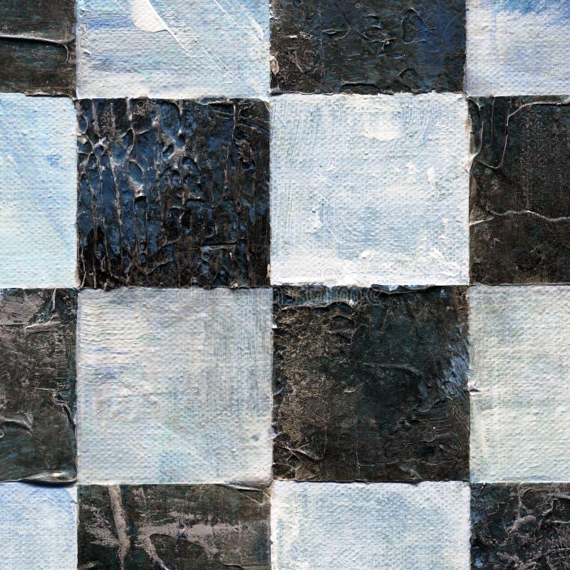Teste padrão quadriculado abstrato pintado com pinturas do acrílico ou de óleo na lona em cores preto e branco imagem de stock royalty free