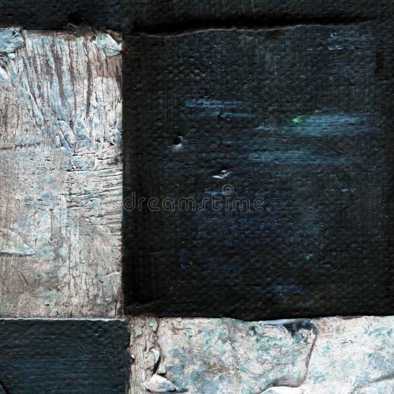 Teste padrão quadriculado abstrato pintado com pinturas do acrílico ou de óleo na lona em cores preto e branco imagens de stock