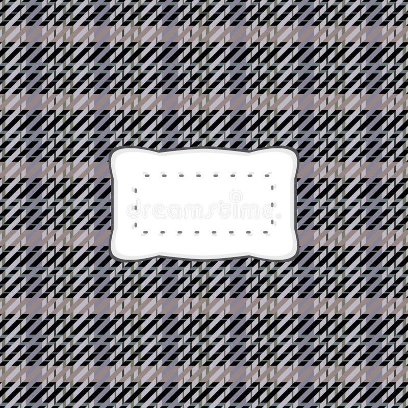 Teste padrão quadriculado cinzento preto com a etiqueta clara branca ilustração do vetor