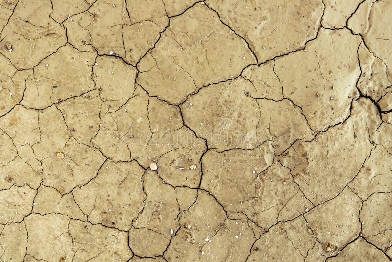 Teste padrão rachado seco da textura do fundo do deserto da sujeira imagens de stock