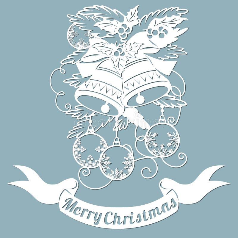 Teste padrão, ramo com brinquedos e sinos Convite do Natal com um brinquedo do Natal Vetor cliche Feliz Natal Para o corte do las ilustração royalty free