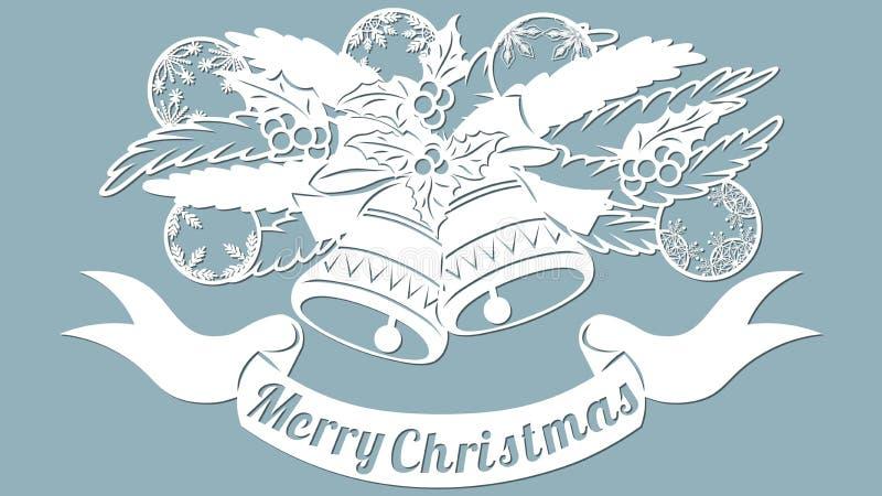 Teste padrão, ramo com brinquedos e sinos Convite do Natal com um brinquedo do Natal Vetor cliche Feliz Natal Para o corte do las ilustração stock