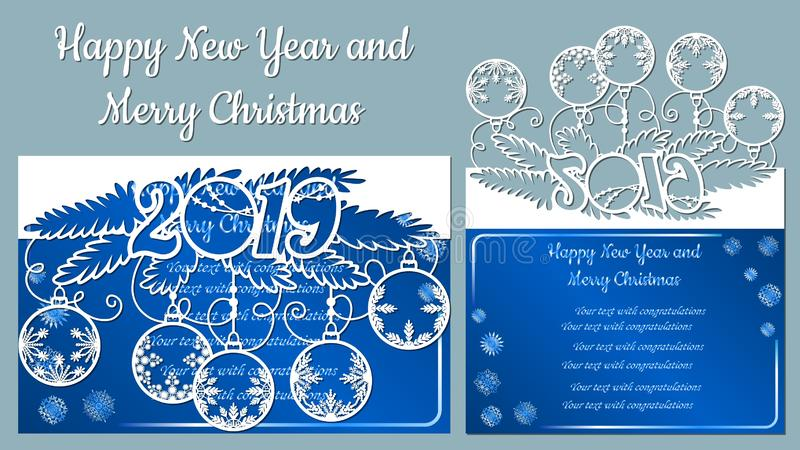 Teste padrão, ramo com flocos de neve Convite do Natal com um floco de neve e um brinquedo do Natal Vetor cliche Feliz Natal e ilustração royalty free