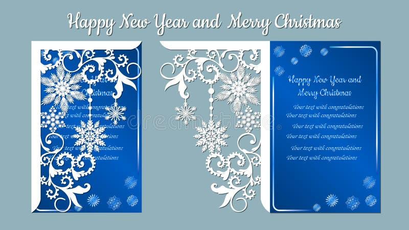 Teste padrão, ramo com flocos de neve Convite do Natal com um floco de neve Vetor cliche Feliz Natal e ano novo Para o laser ilustração do vetor