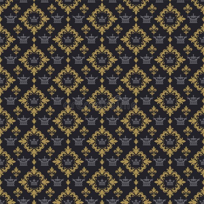 Teste padrão real do fundo na imagem de fundo retro do estilo Teste padr?o sem emenda escuro ilustração royalty free