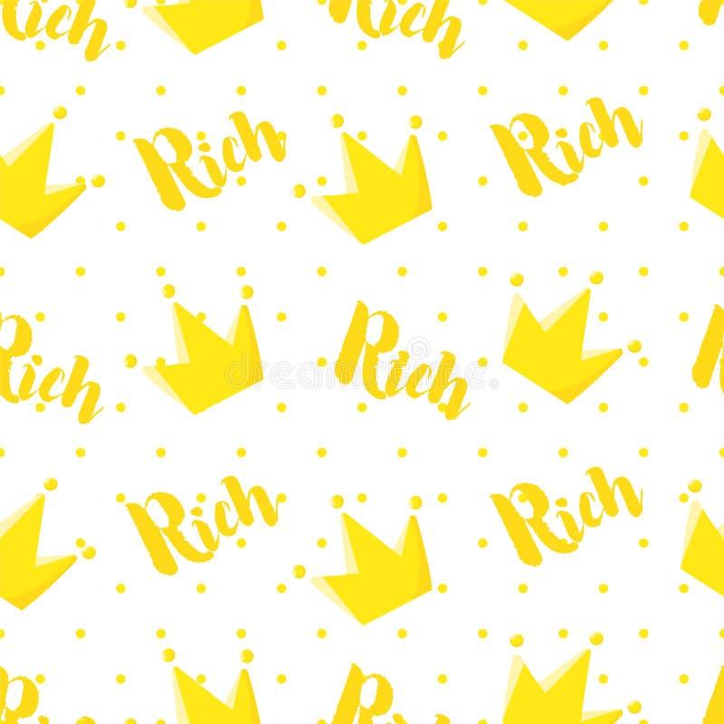 Teste padrão real no às bolinhas com coroa e texto no fundo branco Ornamento para a matéria têxtil e o envolvimento Vetor ilustração royalty free