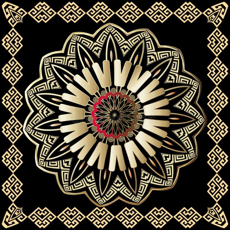 Teste padrão redondo colorido grego da mandala do vetor com quadro quadrado Estilo étnico tribal decorativo ilustração royalty free