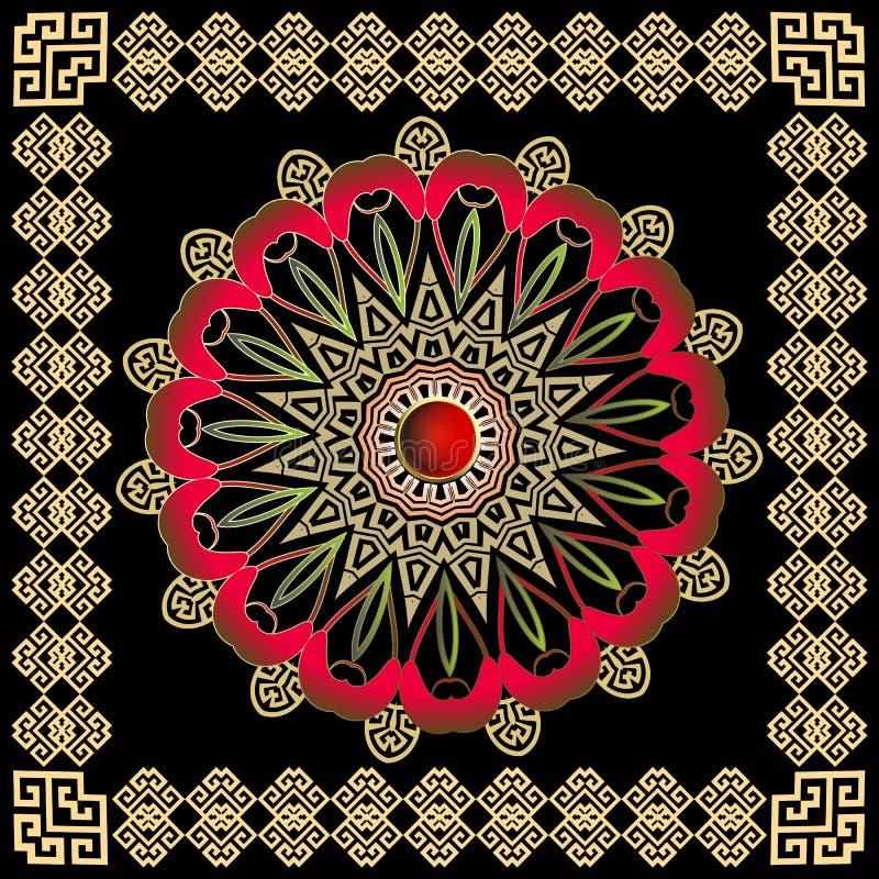 Teste padrão redondo colorido grego da mandala do vetor com quadro quadrado Fundo decorativo do estilo étnico tribal ilustração do vetor