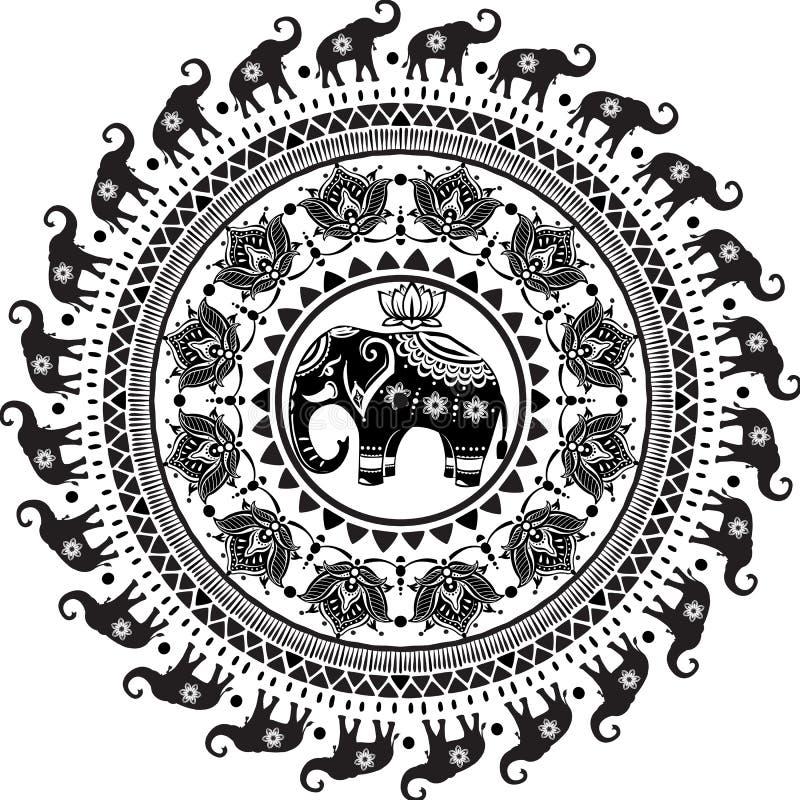 Teste padrão redondo com elefantes decorados ilustração stock