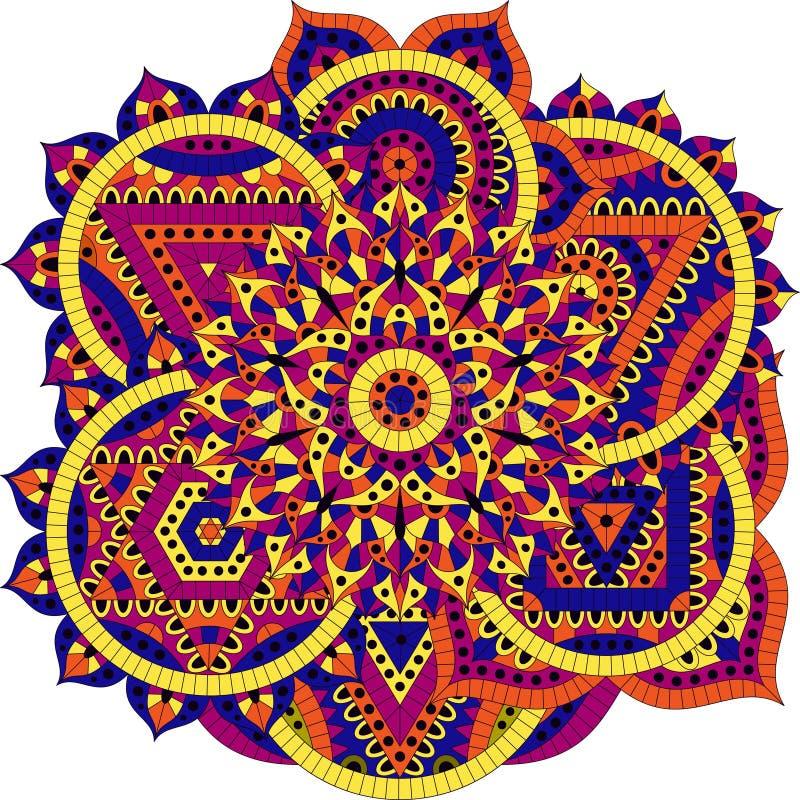 Teste padrão redondo com sete chakras ilustração do vetor