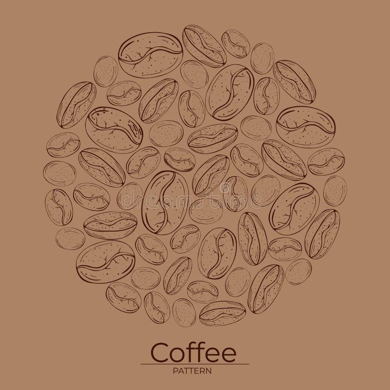 Teste padrão redondo das grões do contorno do café em um fundo marrom ilustração do vetor