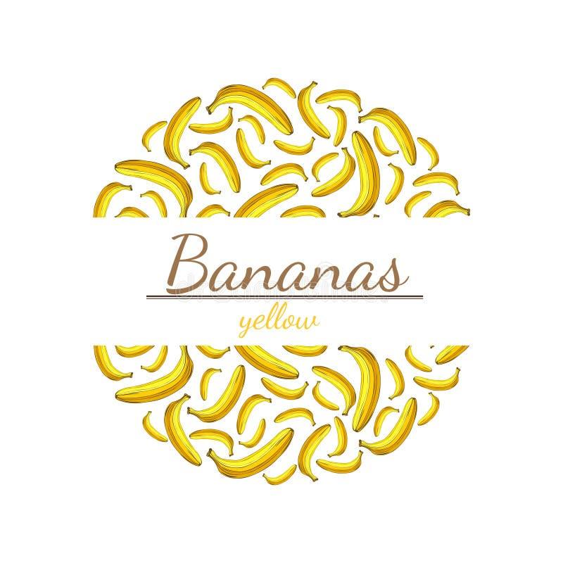 Teste padrão redondo de bananas amarelas com espaço para o texto ilustração do vetor
