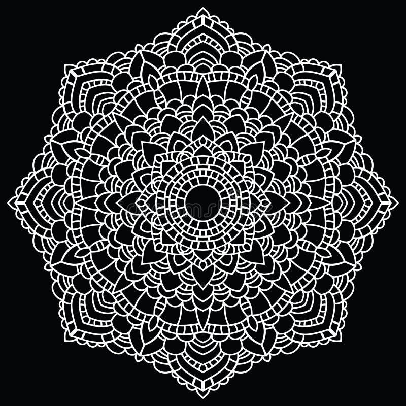 Teste padrão redondo do laço. Mandala. ilustração stock