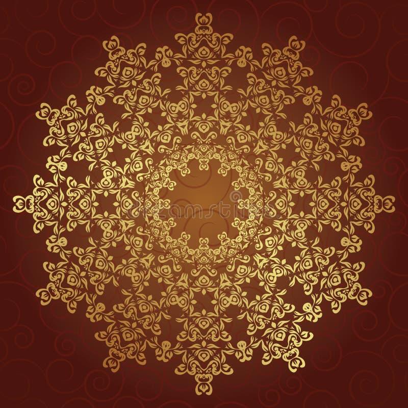 Teste padrão redondo do laço no ouro ilustração royalty free