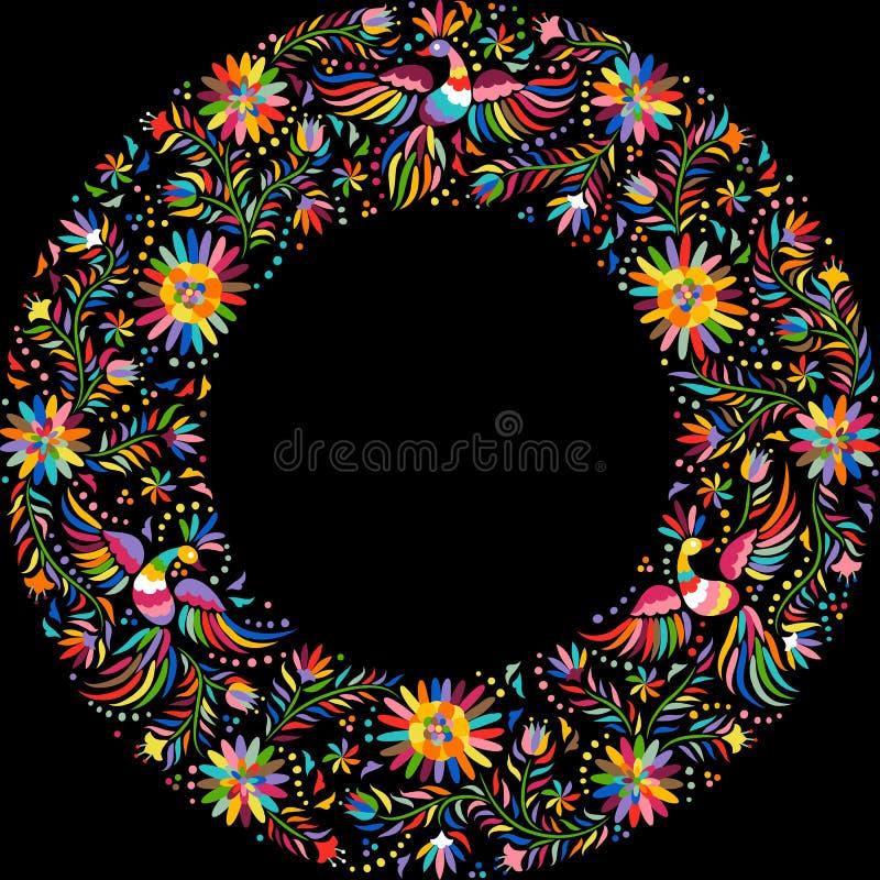 Teste padrão redondo do quadro do bordado mexicano do vetor ilustração royalty free