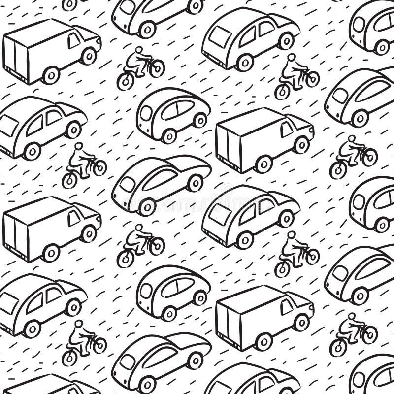 Teste padrão repetitivo com carros do transporte ilustração stock