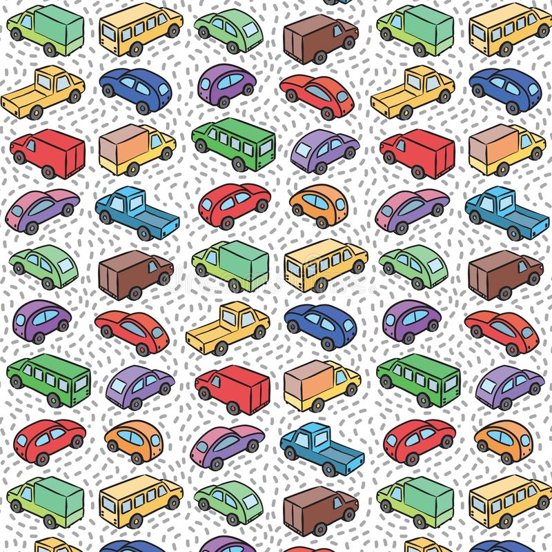 Teste padrão repetitivo com carros do transporte ilustração do vetor