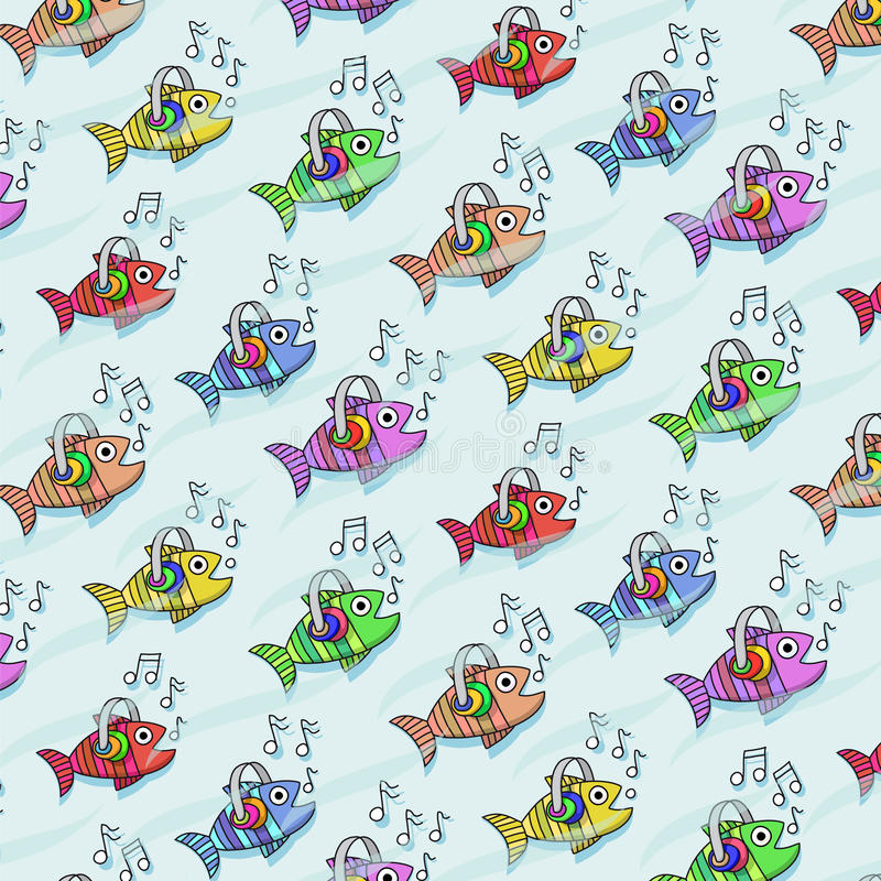 Teste padrão repetitivo com peixes que escutam a música ilustração royalty free