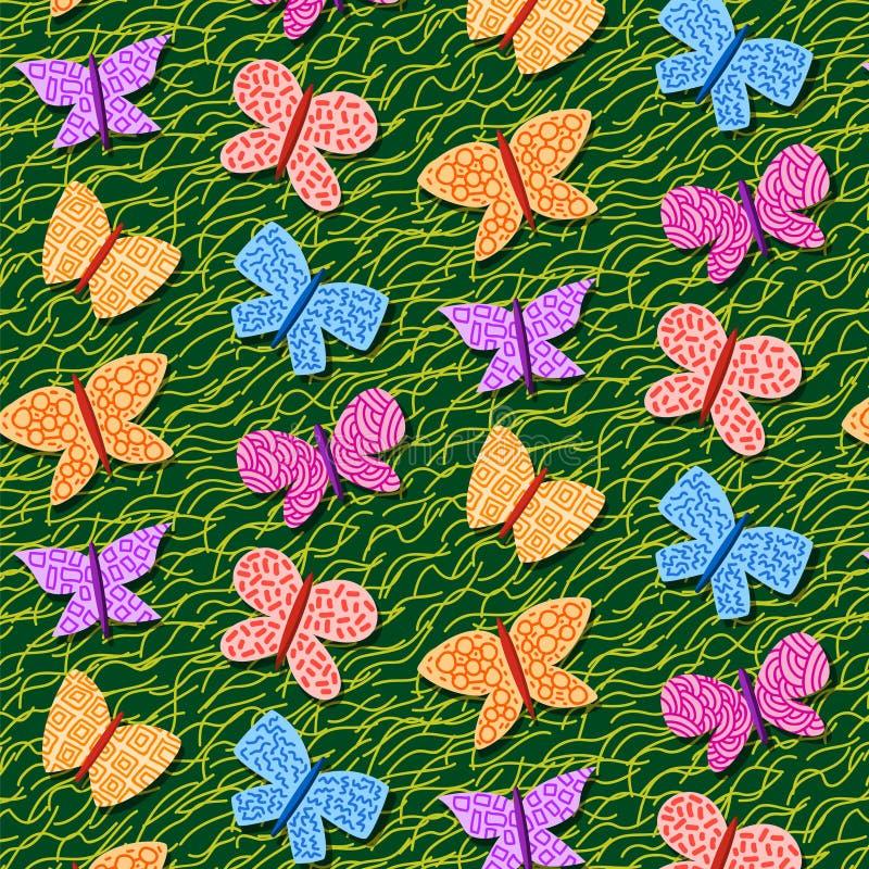 Teste padrão repetitivo sem emenda com borboletas ilustração stock