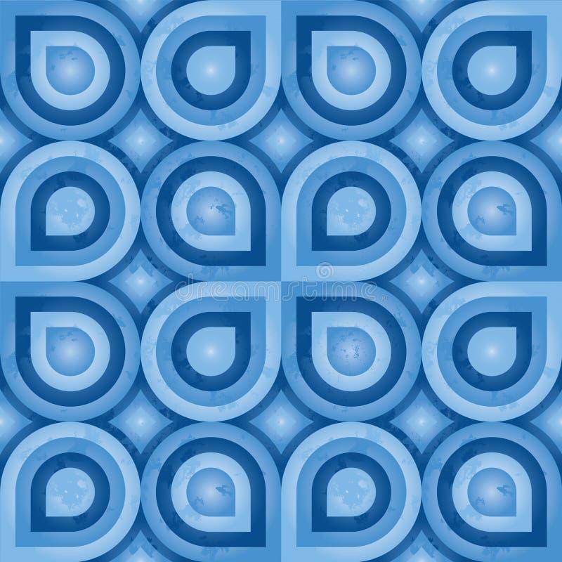 Teste padrão retro azul (folha) ilustração stock