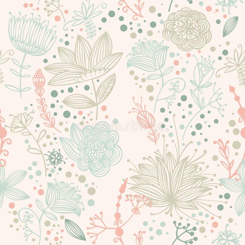 Teste padrão retro da flor e da folha do vetor ilustração stock