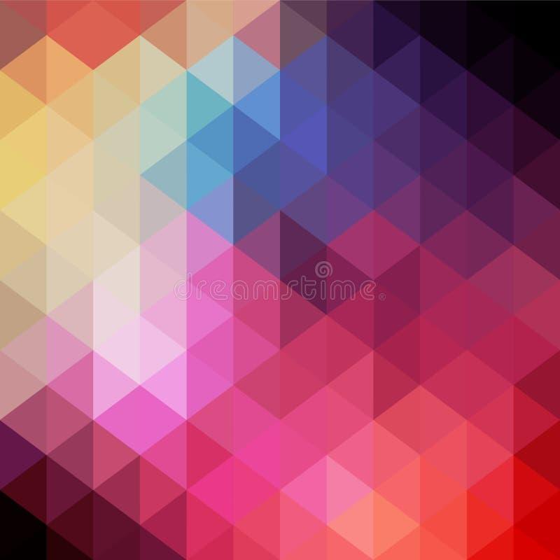 Teste padrão retro de fôrmas geométricas Bandeira colorida do mosaico Hipst ilustração do vetor
