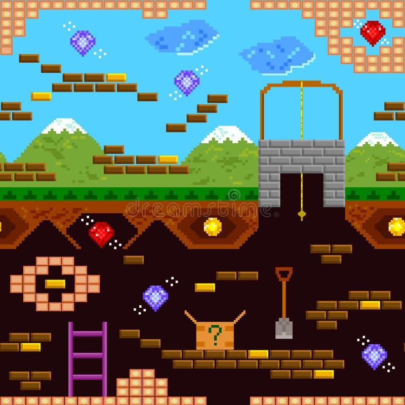 Teste padrão retro do jogo ilustração stock