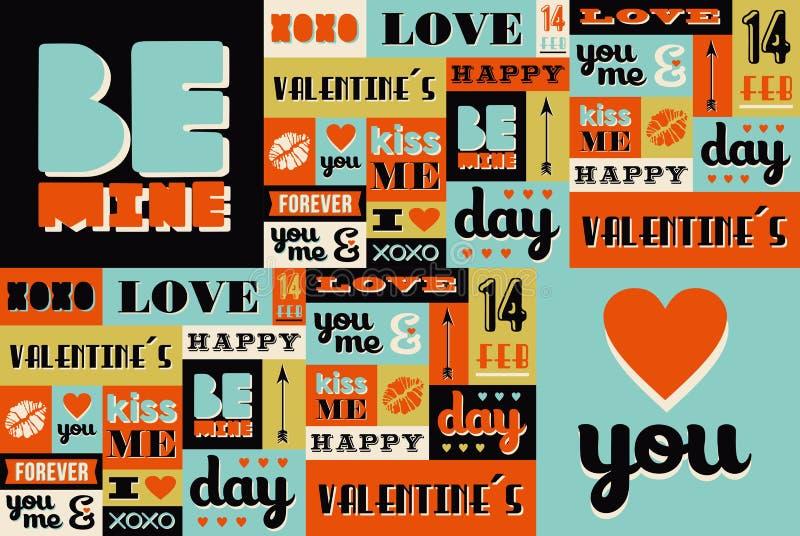 Teste padrão retro feliz do vintage do dia de Valentim ilustração do vetor
