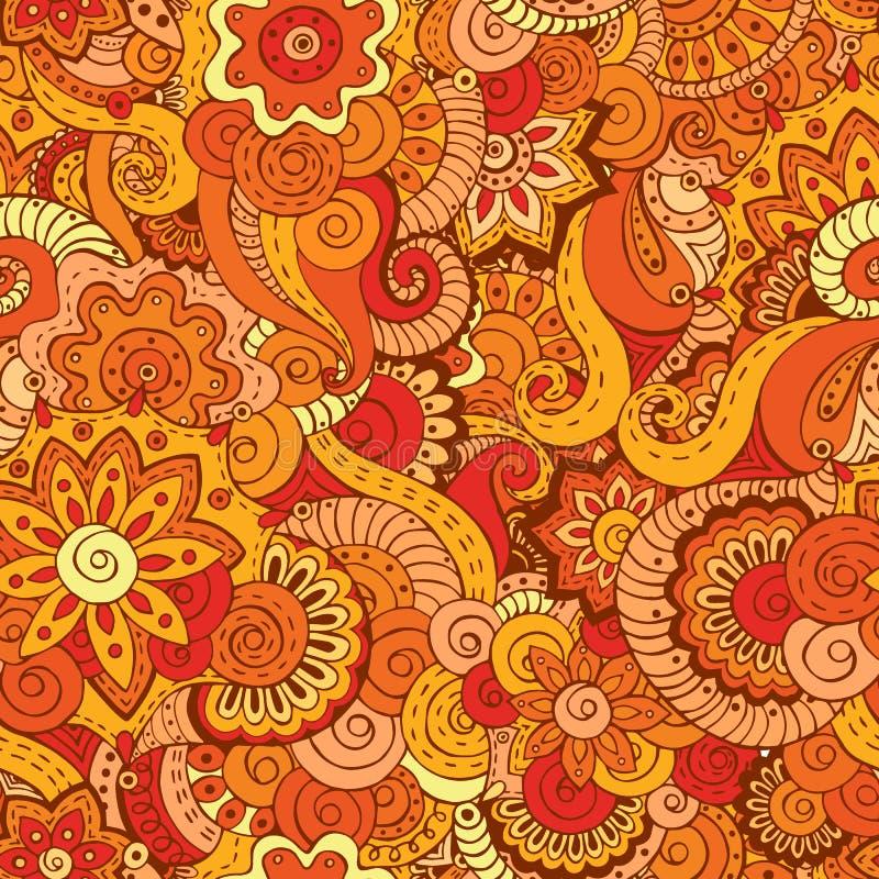 Teste padrão retro floral étnico asiático sem emenda da garatuja ilustração do vetor