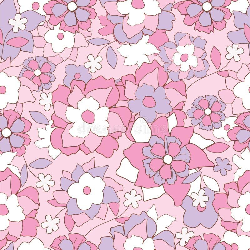 Teste padrão retro floral ilustração royalty free