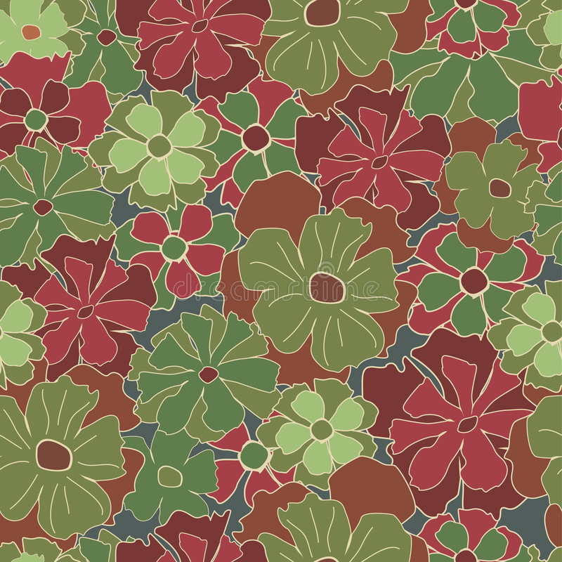 Teste padrão retro floral ilustração stock