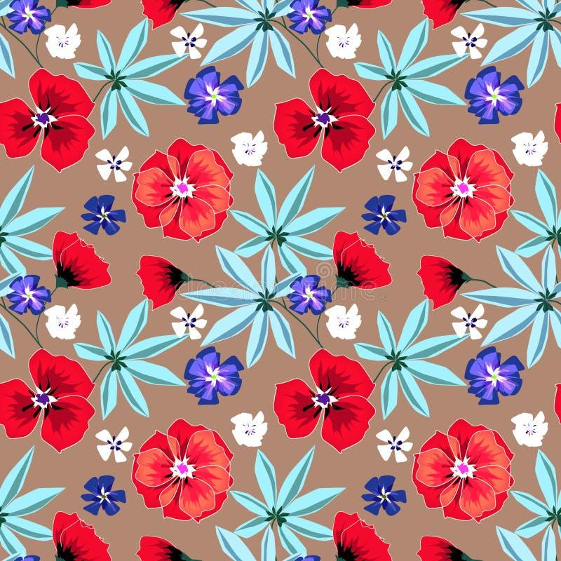 Teste padrão retro floral sem emenda Flores vermelhas, azuis, brancas na luz - fundo marrom ilustração stock
