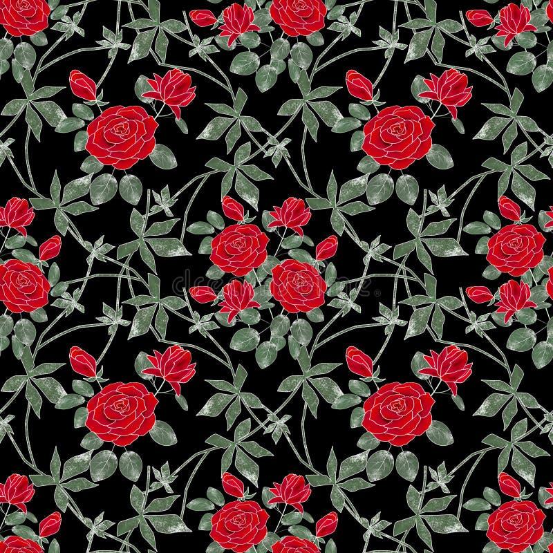 Teste padrão retro floral sem emenda Rosas vermelhas em um fundo preto ilustração stock