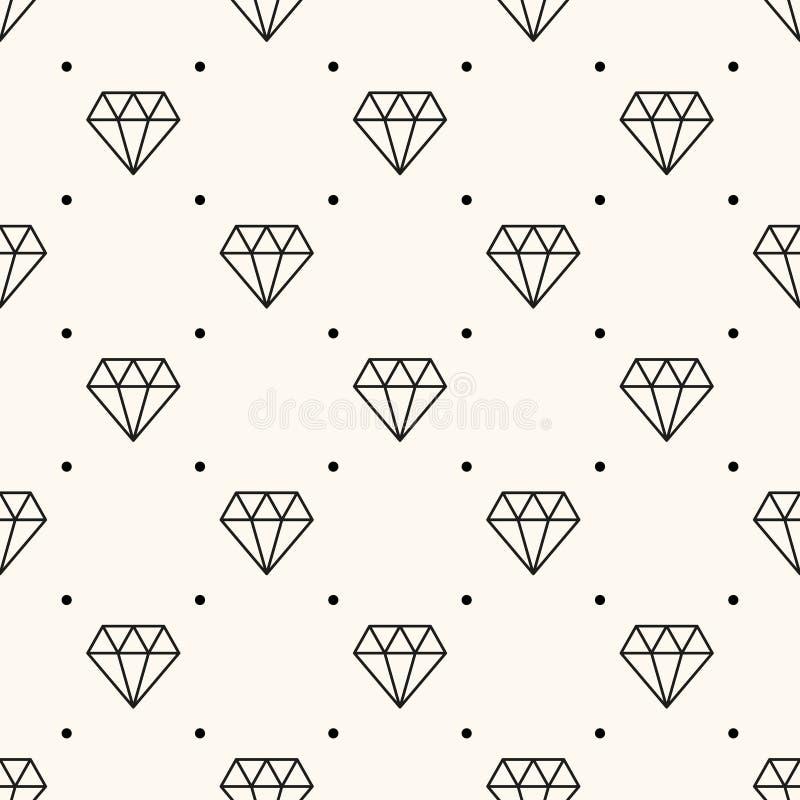 Teste padrão retro sem emenda do vetor, com diamantes. ilustração royalty free