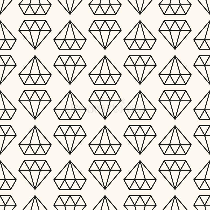 Teste padrão retro sem emenda do vetor, com diamantes ilustração royalty free