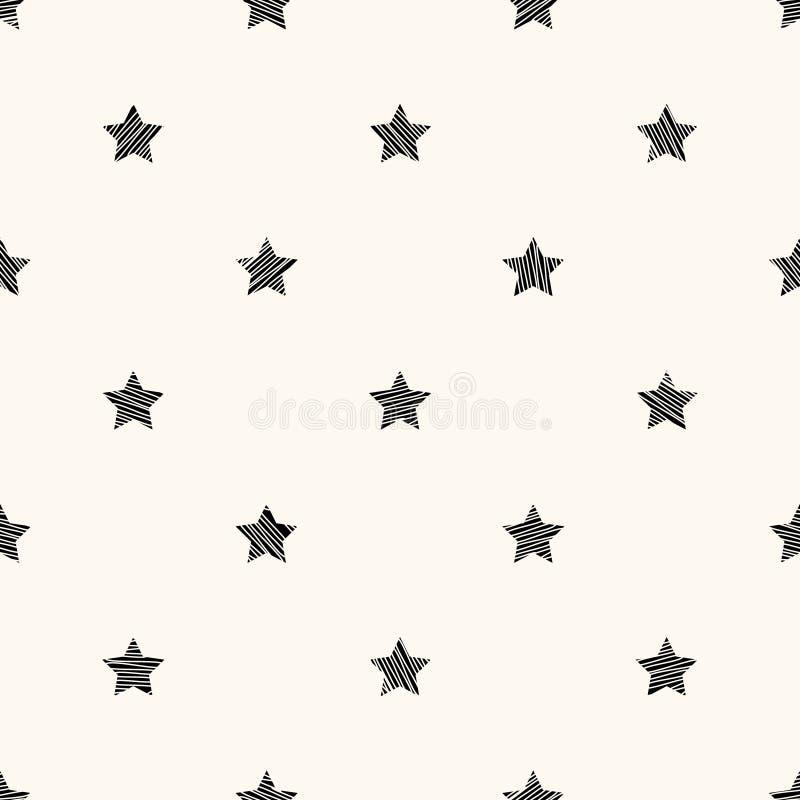 Teste padrão retro sem emenda do vetor com estrelas ilustração royalty free