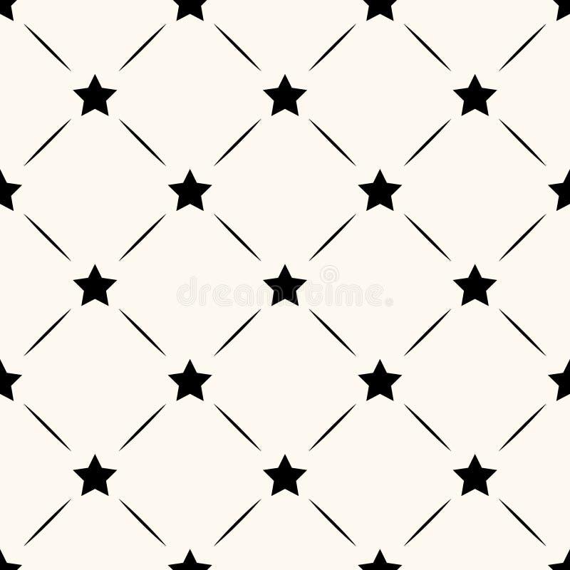 Teste padrão retro sem emenda do vetor com estrelas ilustração stock