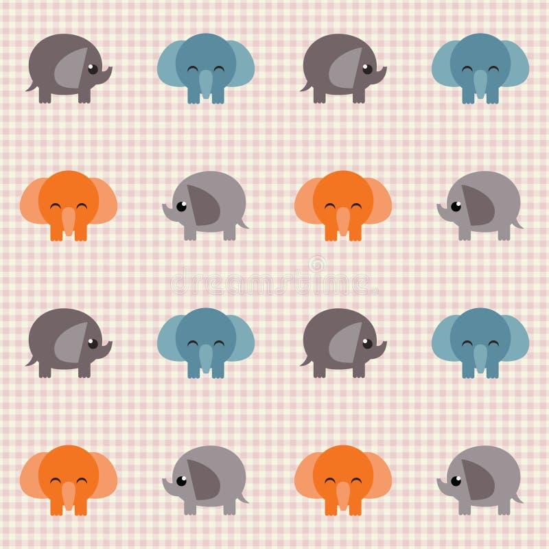 Teste Padrão Retro Verific Com Os Elefantes Bonitos Pequenos Imagens de Stock