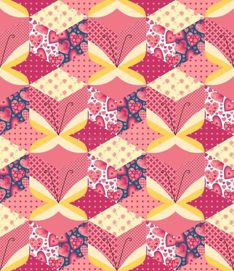 Teste padrão romântico dos retalhos com borboletas ilustração stock