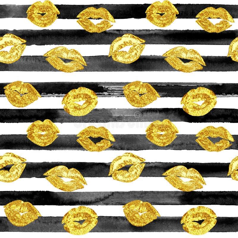 Teste padrão romântico sem emenda com beijos dos bordos do ouro fotos de stock royalty free