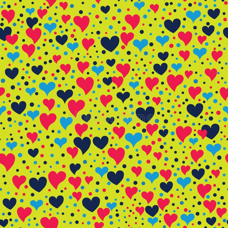 Teste padrão romântico sem emenda com corações e pontos ilustração royalty free