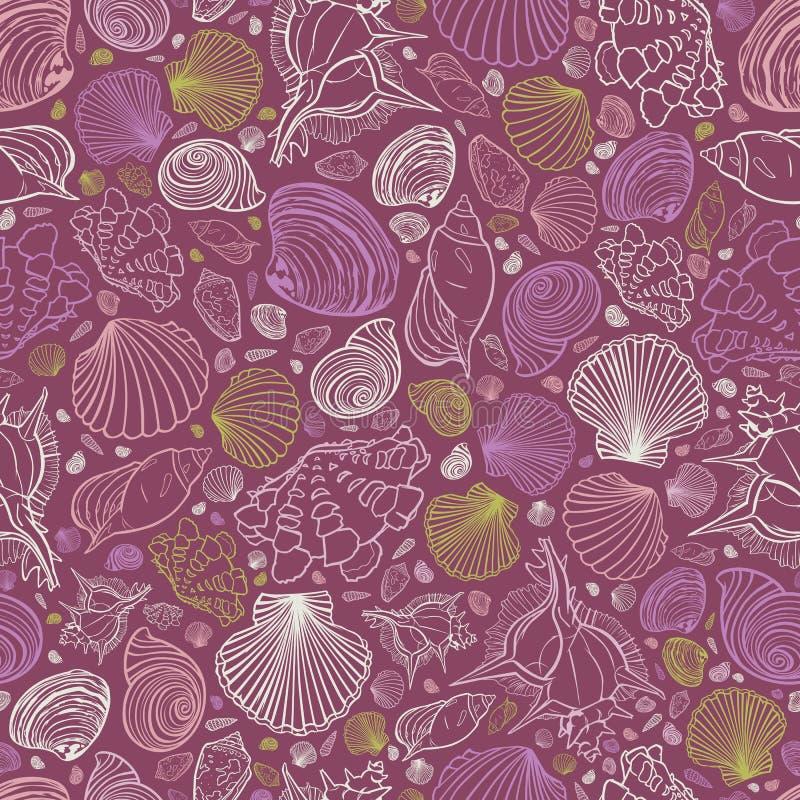 Teste padrão roxo da repetição do vetor com variedade de conchas do mar Aperfeiçoe para cumprimentos, convites, papel de envolvim ilustração royalty free