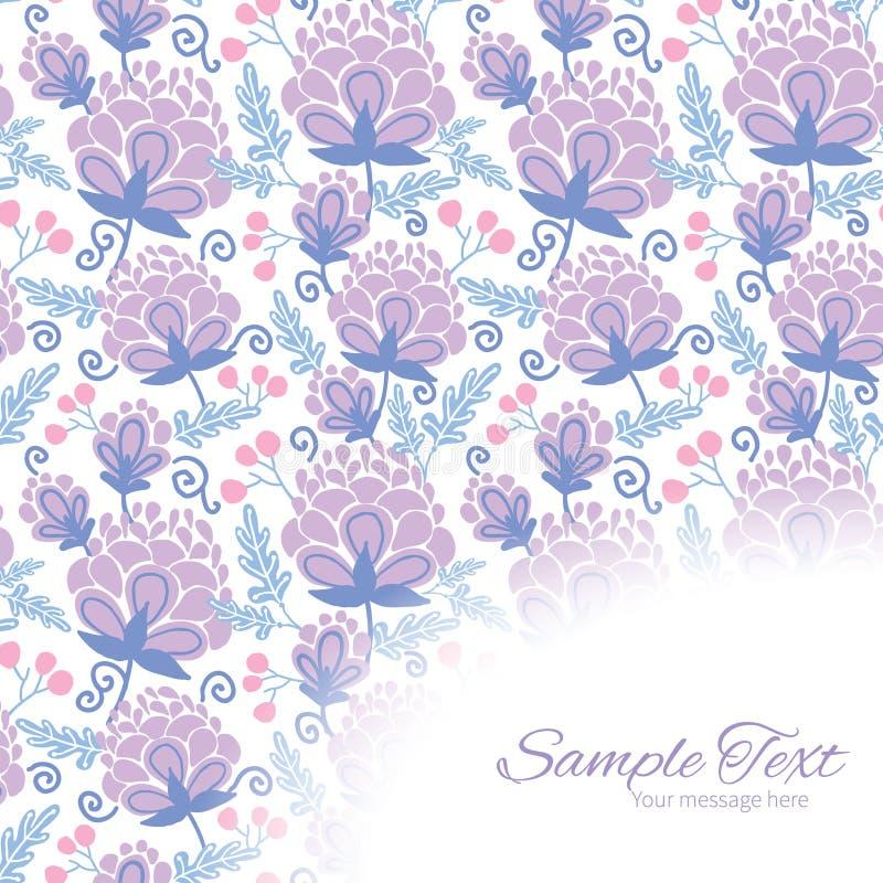 Teste padrão roxo macio do canto do quadro das flores do vetor ilustração stock