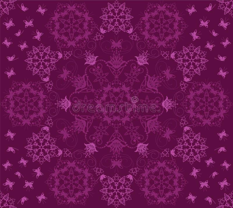 Teste padrão roxo sem emenda das flores e de borboletas ilustração royalty free