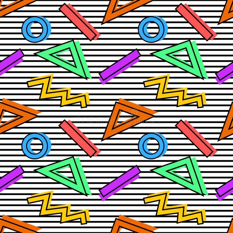 Teste padrão 80s de Memphis ilustração stock