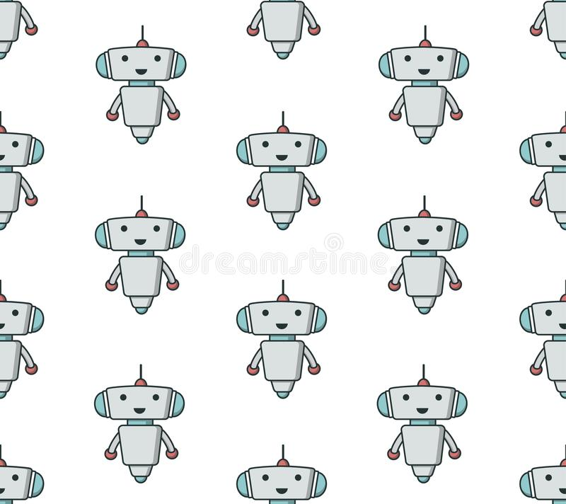 Teste padrão sameless do robô bonito ilustração do vetor