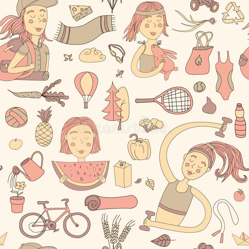 Teste padrão saudável do estilo de vida ilustração stock