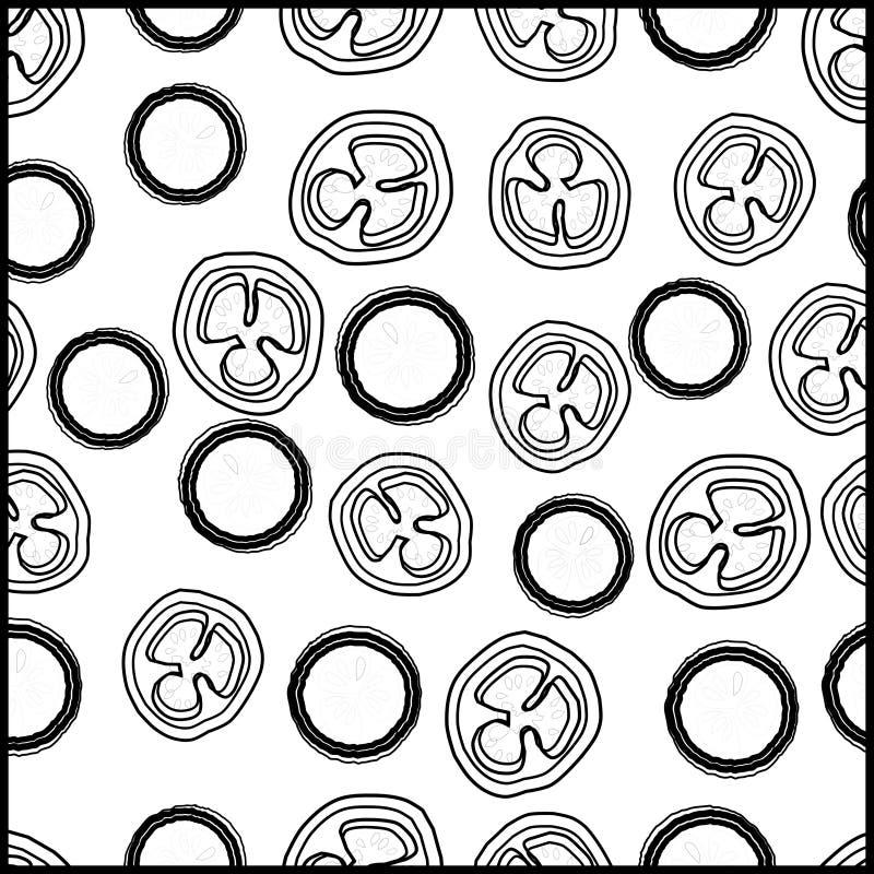 Teste padrão seemless abstrato, vetor, formas, preto e branco, linhas, formas redondas ilustração stock
