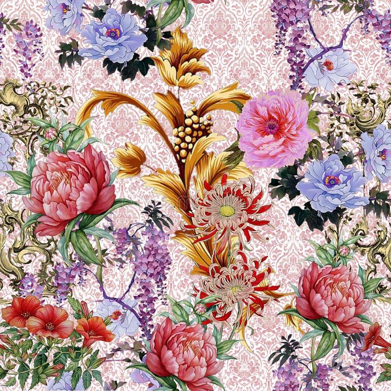 Teste padrão seemless barroco floral imagens de stock
